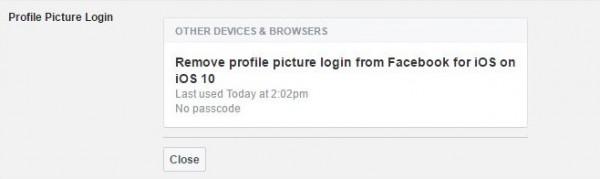غیرفعال کردن ورود به فیس بوک با عکس پروفایل