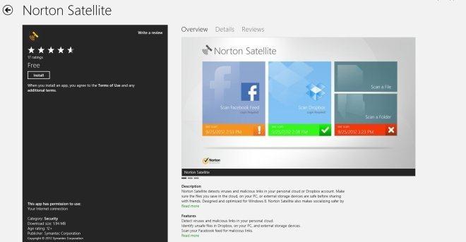 Norton Satellite برای ویندوز 8 فایل های محلی، فیدهای فیسبوک و دراپ باکس را به منظور محتوای مخرّب اسکن و بررسی می کند