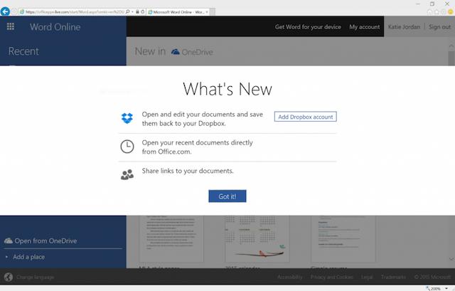 مایکروسافت از آفیس آنلاین و یکپارچه سازی با دراپباکس رونمایی کرد
