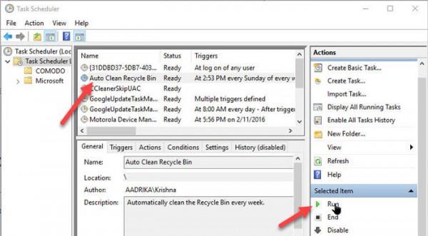 زمان بندی کردن سطل آشغال ویندوز