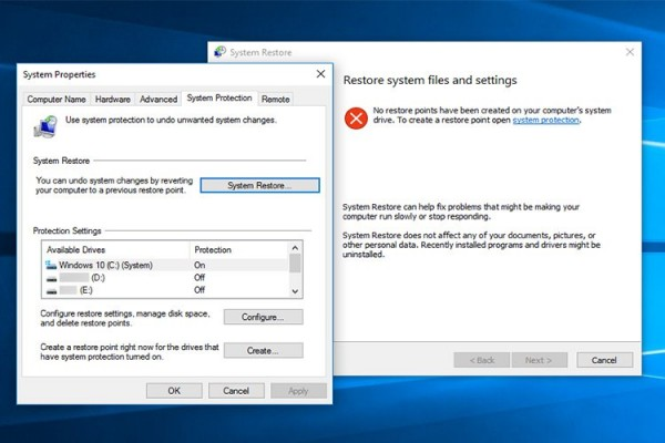 فعال سازی System Restore در ویندوز 10