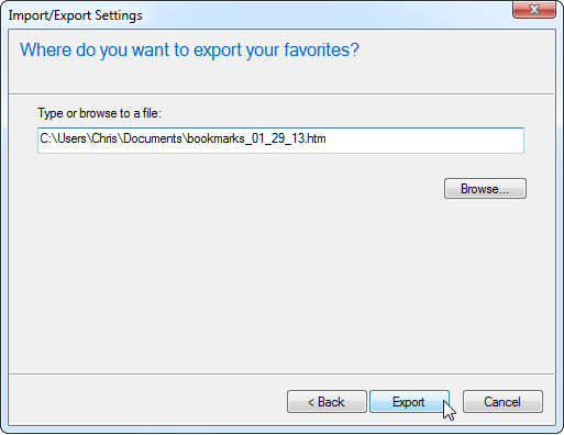 Export IE Bookmarks 2