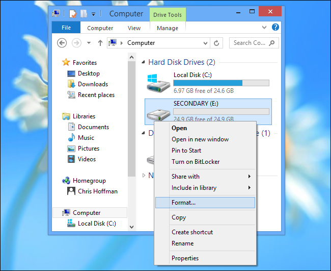 Format a Drive In Windows 8