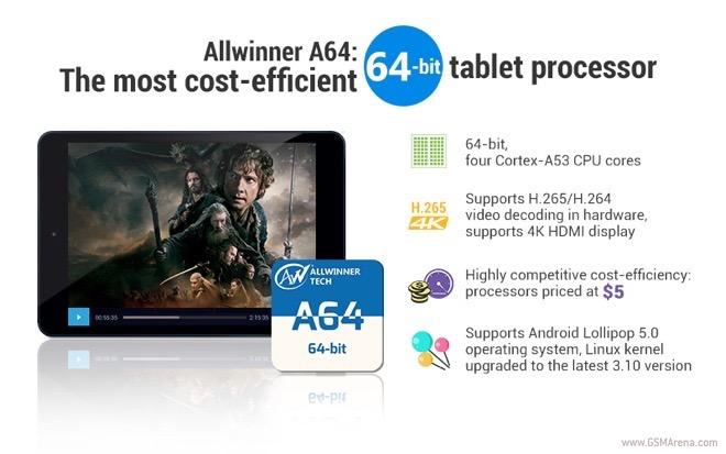 چیپست ۶۴ بیتی Allwinner A64 با پشتیبانی از ۴K و قیمت ۵ دلار