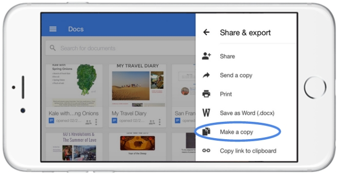 نسخه iOS برنامه های Google Docs ،Slides و Sheets در حال حاضر به شما اجازه ایجاد یک کپی از فایل را میدهند