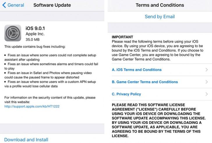 iOS 9/0/1 با رفع مشکلات iOS 9 منتشر شد