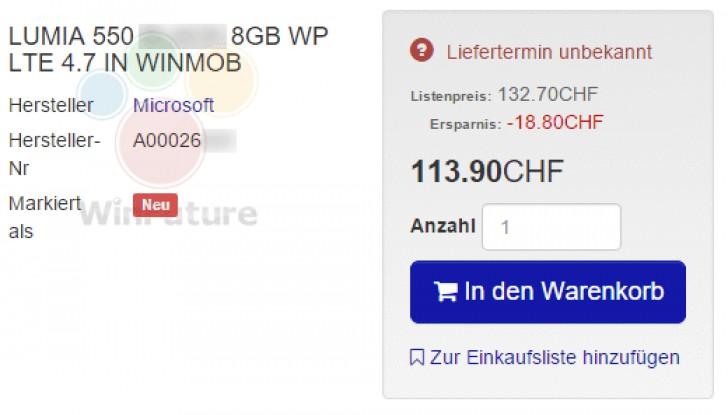 مشخصات تلفن هوشمند لومیا ۵۵۰ با صفحه نمایش ۴/۷ اینچی به بیرون درز یافت