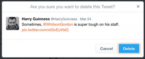 حذف توییت در نسخه وب