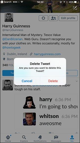 حذف توییت در موبایل