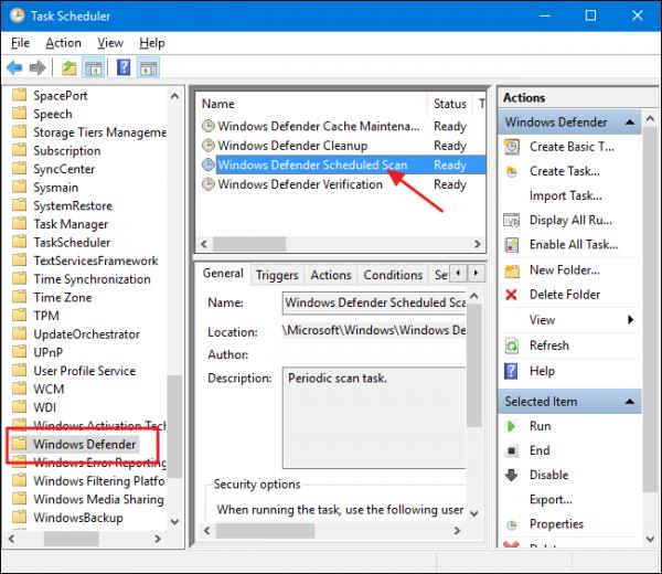 زمان بندی اتوماتیک Windows Defender