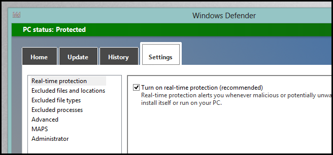 Windows 8- Windows Defender -Settings