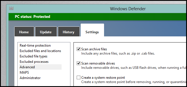 Windows 8-Windows Defender -Advanced Settings
