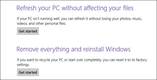Windows 8-Refresh Or Reset