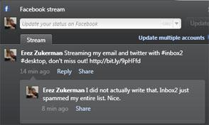 ارسال هرزنامه به دوستان در فیسبوک