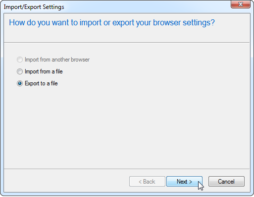 Internet Explorer-Export to a File