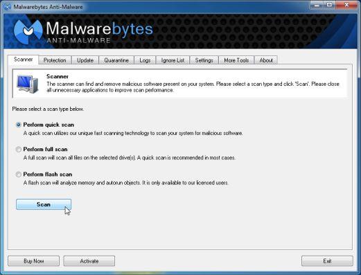 Malwarebytes-Quick Scan