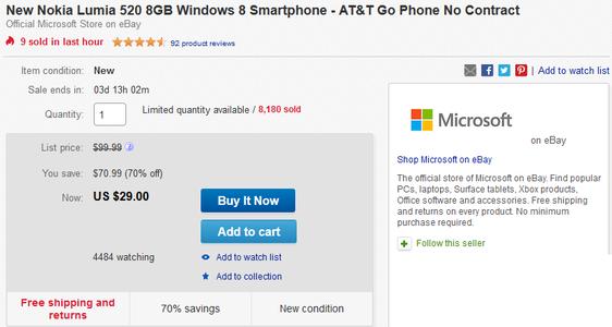 فروش Lumia 520 با قیمت ۲۹ دلار در Ebay توسط مایکروسافت