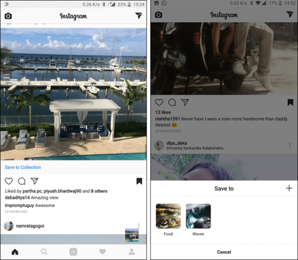 classify and order bookmarks in the Instagram
