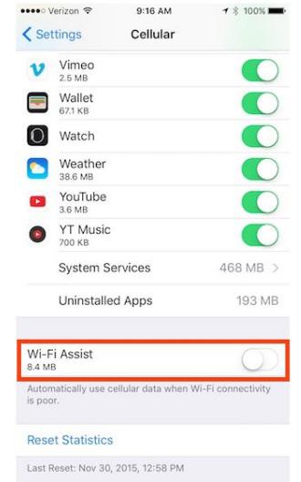کاهش مصرف دیتای موبایل آیفون