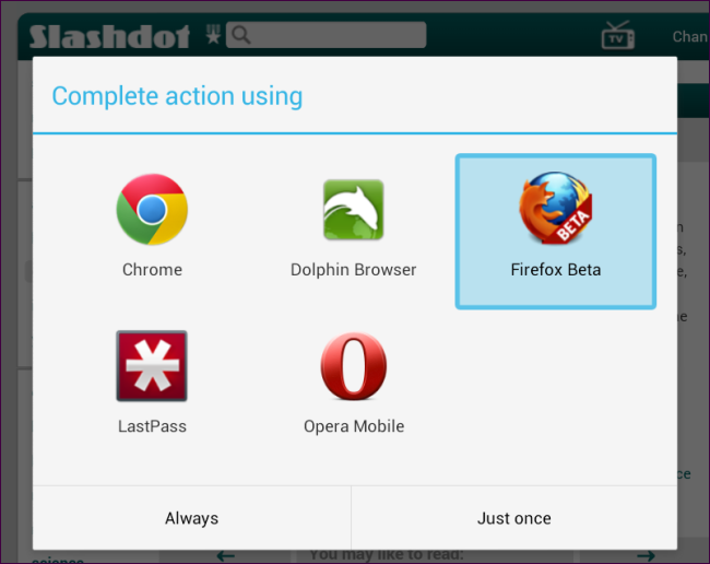 select android browser