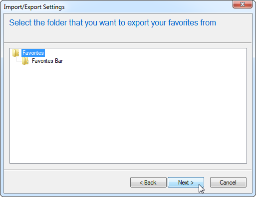 Select IE Favorites to Export
