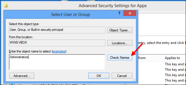 Windows 8-Select User or Group Permissions