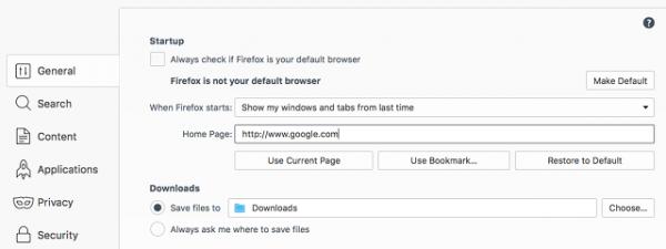 تنظیم صفحه خانگی در مرورگر فایرفاکس