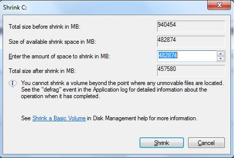shrink volume - آموزش پارتیشن بندی هارد رایانه