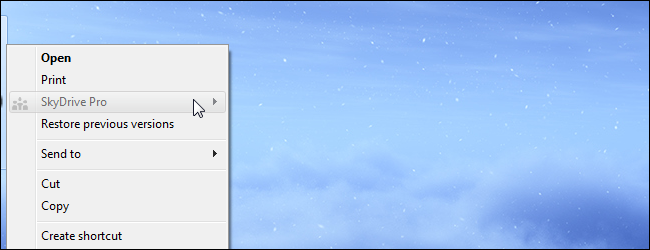 SkyDrive Pro In Context Menu
