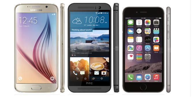 مقایسه اسمارتفون های آیفون ۶، اچتیسی One M9 و سامسونگ گلکسی S6