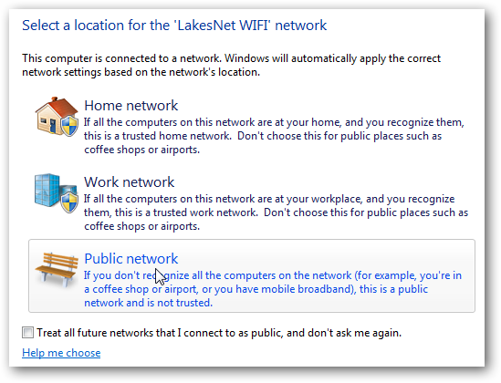 Windows-Public network