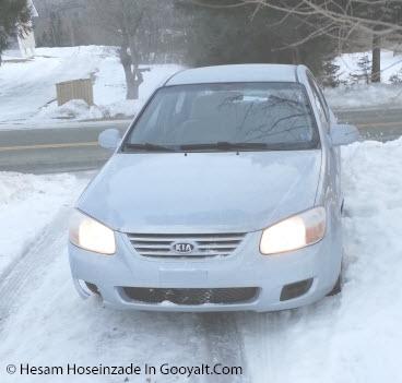 عکس ماشینم در برف