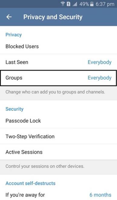 telegram setting