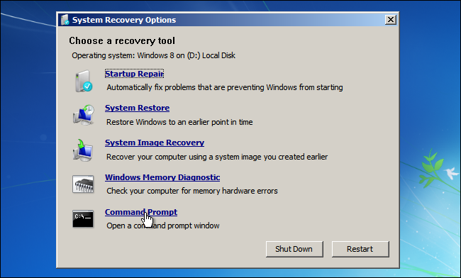 Windows 7 System Recovery-Command Prompt