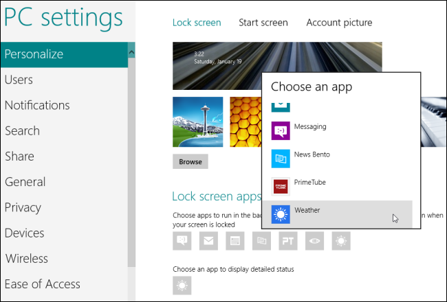 Windows 8-Select Lock Screen Apps