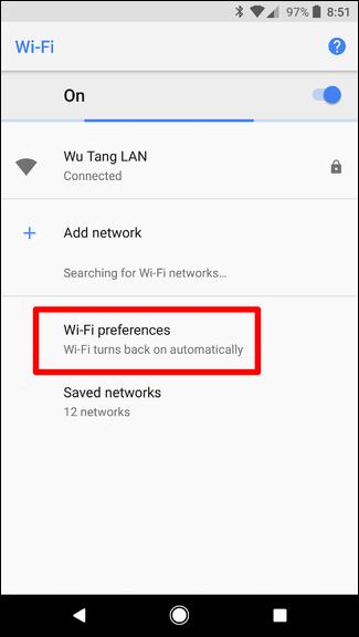 فعال سازی اتوماتیک wifi در اندروید 8