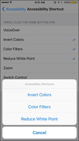 تنظیمات دسترسی سریع به تغییرات رنگ