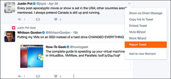 چگونه یک  Tweet را در Twitter ریپورت کنیم؟