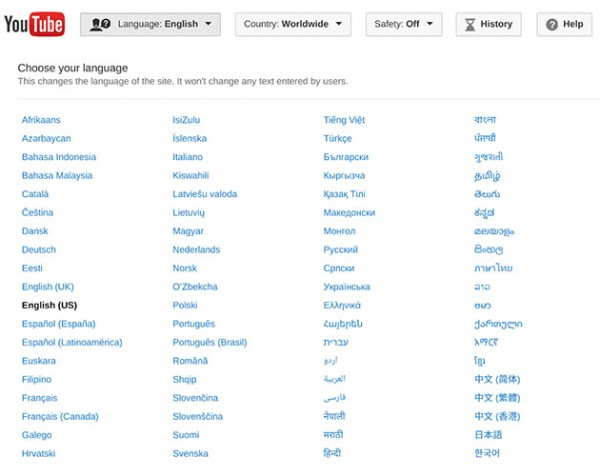 youtube-languages