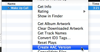 how to create aac version in itunes mac