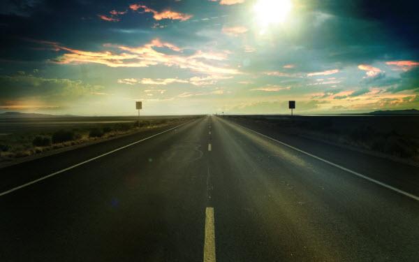 عکس تصویر زمینه جاده و آسمان غروب