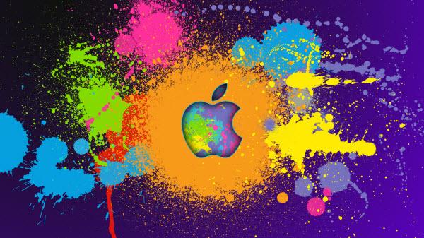 یک طرح متفاوت برای تصویر پس زمینه با موضوعیت اپل با سنت شکنی و ایجاد ترکیب رنگ های مختلف