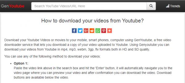 دانلود فیلم های یوتیوب از طریق وب سایتGenYoutube