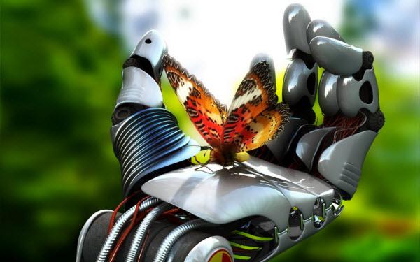 عکس تصویر زمینه ربات و پروانه