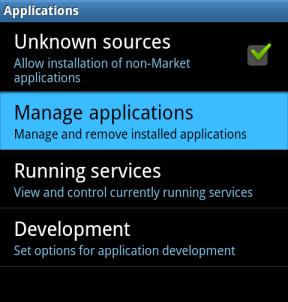 انتخاب منوی Manage applications برای شروع فرآیند افزایش حافظه گوشی با انتقال و مدیریت اپلیکیشن ها در اندروید