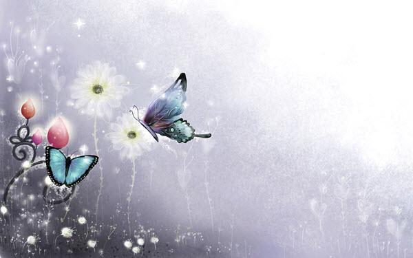 عکس تصویر زمینه شمع و گل و پروانه