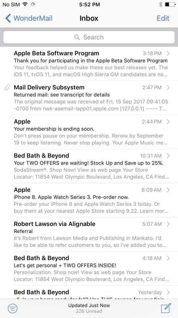 رابط کاربری ایمیل در IOS 10