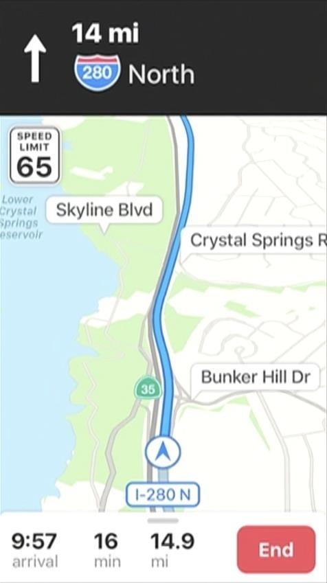نمایش خطوط مختلف جاده و سرعت مجاز آن در نقشه