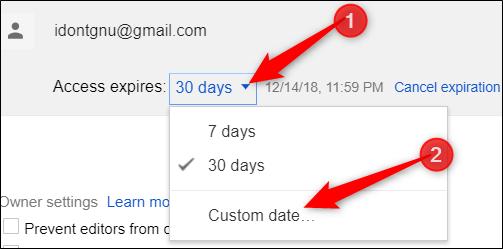 استفاده از آیکون تایمر برای انقضا زمان اشتراک گذاری فایل