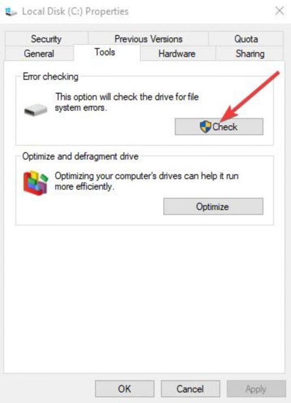 استفاده از ابزارCheck Disk برای شناسایی مشکل کپی و پیست